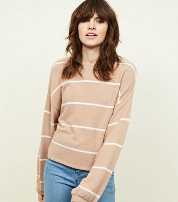 Camel Stripe Brushed Fine Knit Balloon Sleeve Top