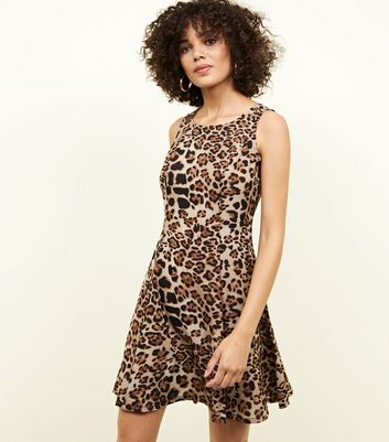 Blue Vanilla Brown Leopard Skater Dress