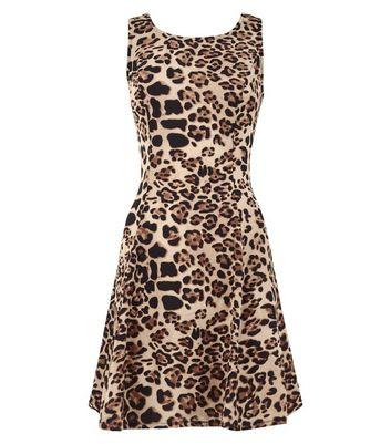 Blue Vanilla Brown Leopard Skater Dress New Look
