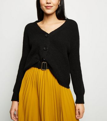 Black Rib Knit Button Through Cardigan