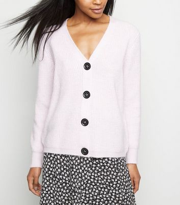 Lilac Rib Knit Button Through Cardigan