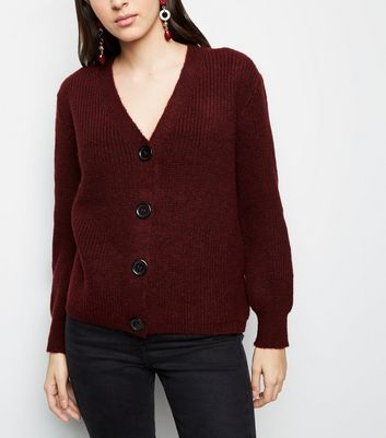 Burgundy Rib Knit Button Through Cardigan