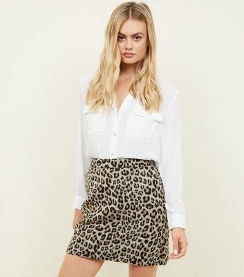 Brown Brushed Leopard Jacquard Skirt