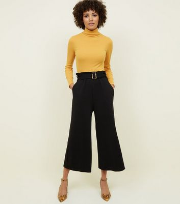 Black Cross Hatch Belted Wide Leg Trousers