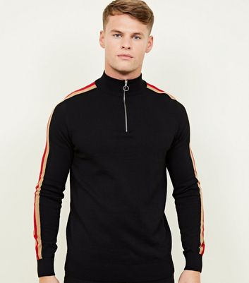 Black Side Stripe Half Zip Funnel Neck Jumper