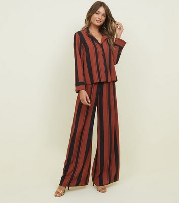 Rust Stripe Drawstring Waist Wide Leg Trousers