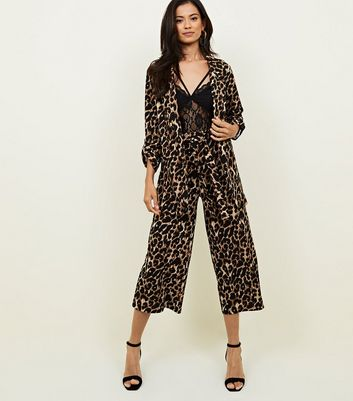Brown Leopard Print Scuba Pull On Trousers