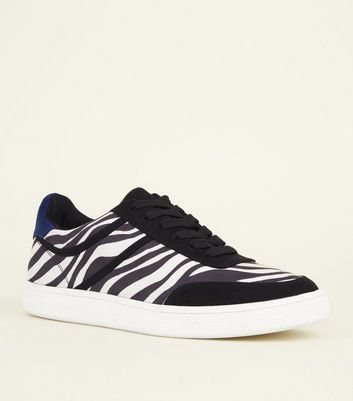 Black and White Zebra Suedette Blue Heeled Trainers