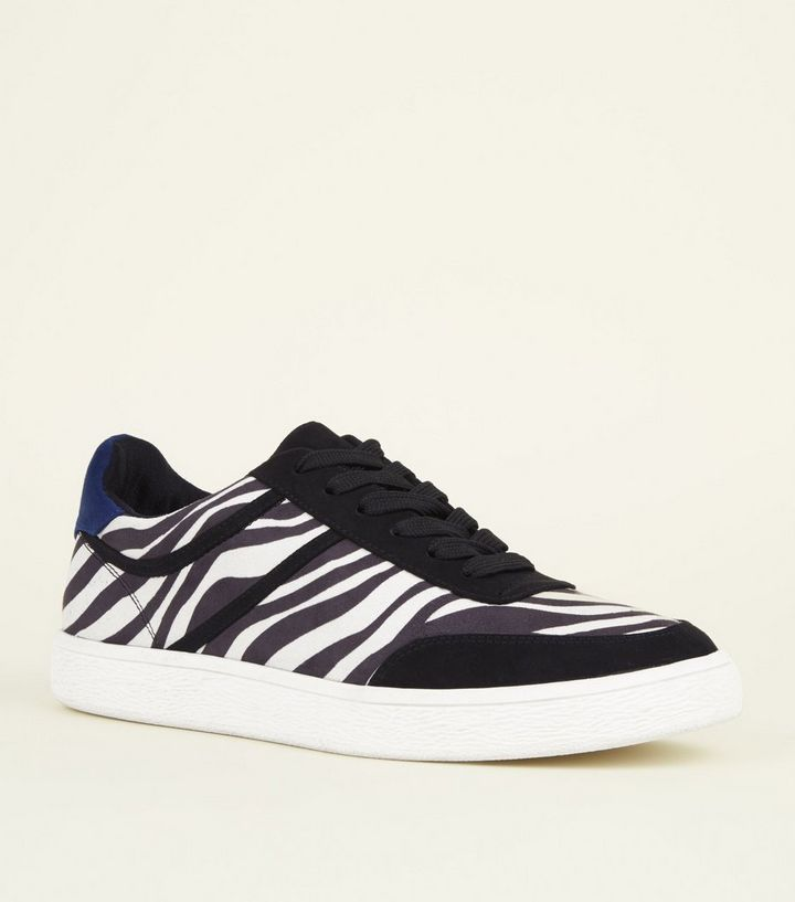 9f27151277e2 Black and White Zebra Suedette Blue Heeled Trainers | New Look