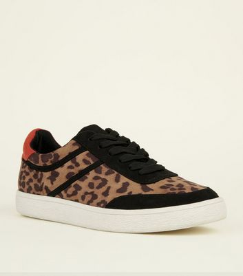 Brown Leopard Print Red Heeled Trainer
