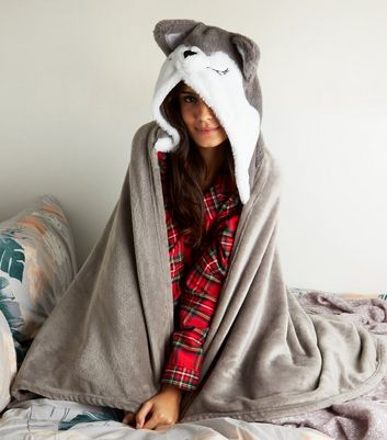Dark Grey Fluffy Husky Slanket