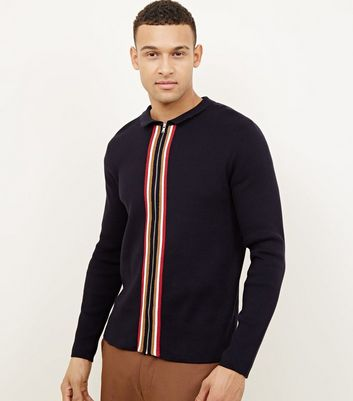 Navy Stripe Zip Front Polo Shirt