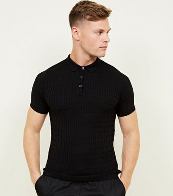 Black Cable Knit Shot Sleeve Polo