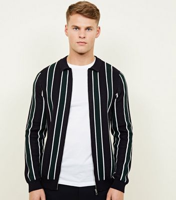Black Stripe Zip Through Front Cardigan