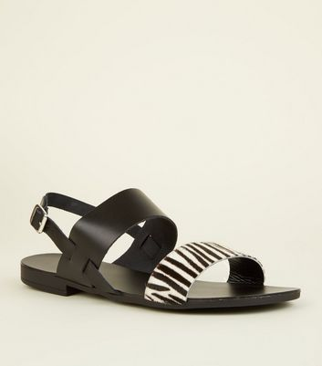 Wide Fit Black Leather Faux Zebra Strap Sandals