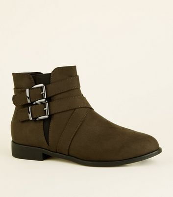 Girls Khaki Suedette Buckle Ankle Boots