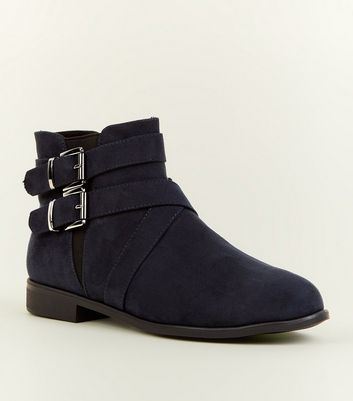 Girls Navy Suedette Buckle Ankle Boots