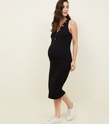 Maternity Ribbed Faux Horn Button Midi Dress