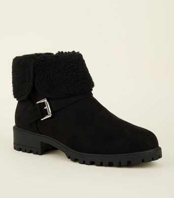 Girls Black Suedette Teddy Lined Ankle Boots