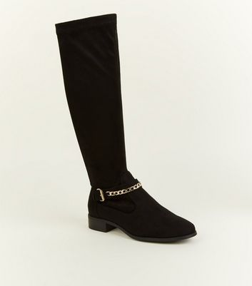 Girls Black Suedette Chain Strap Boots