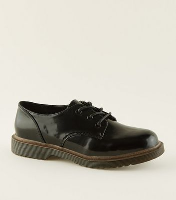 Girls Black Patent Lace Up Shoes | New Look