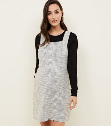 Maternity Grey Jacquard Side Button Pinafore Dress