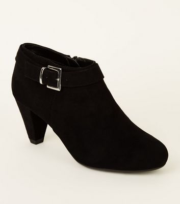 Girls Black Suedette Cone Heel Shoe Boots by New Look