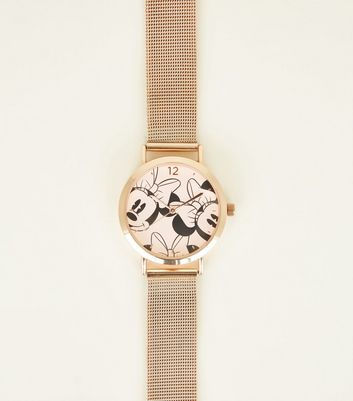 Gold Minnie Mouse Mesh Strap Disney Watch