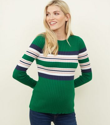 Maternity Green Stripe Ribbed Jumper