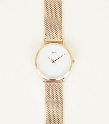 Cluse Rose Gold Minuit Mesh Strap Watch