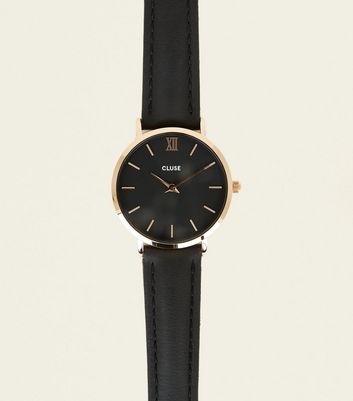Cluse Black Leather Strap Minuit Watch
