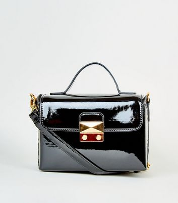Black Patent Push Lock Box Bag