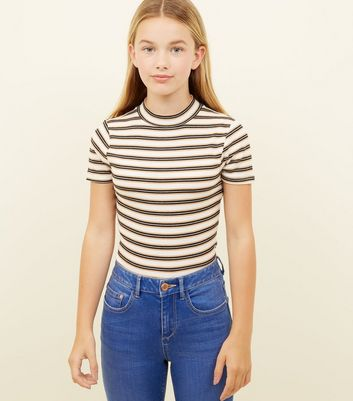 Girls Brown Stripe Ribbed High Neck T-Shirt