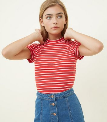 Girls Red Stripe High Neck Ribbed Top