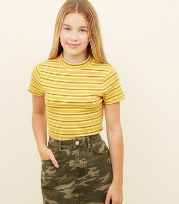 Girls Yellow Stripe Ribbed High Neck T-Shirt