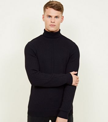 Navy Racking Stitch Roll Neck Jumper
