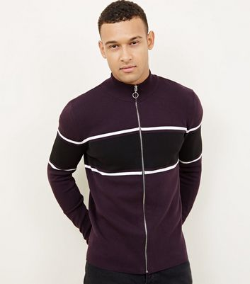Burgundy Stripe Zip Front Funnel Neck Top