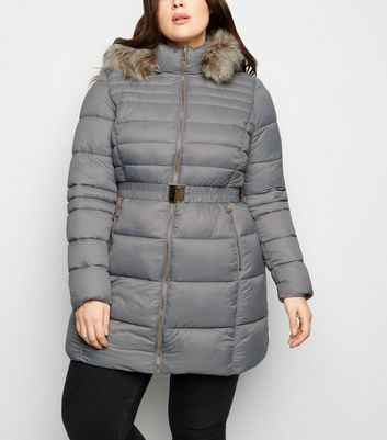 Curves Grey Faux Fur Trim Belted Puffer Coat