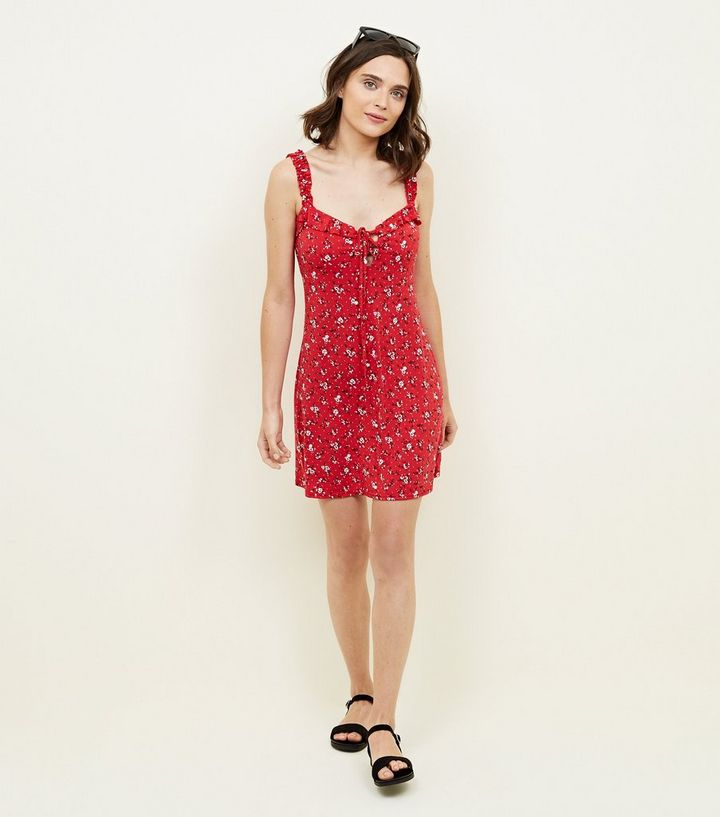 340baddbc958 ... Cameo Rose Red Ditsy Floral Frill Strap Sundress. ×. ×. ×. Shop the look