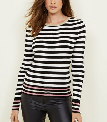 Tall White Glitter Stripe Ribbed Jumper