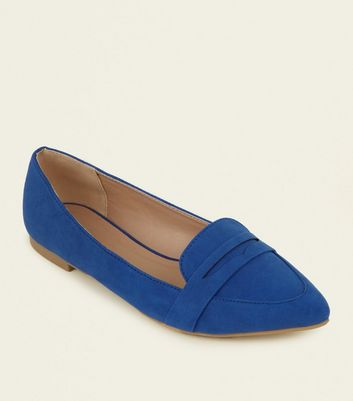 Blue Suedette Pointed Loafers