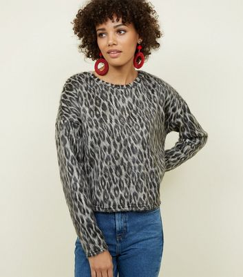 Grey Leopard Print Brushed Fine Knit Top