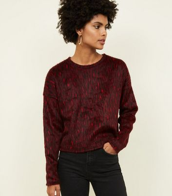 Red Brushed Fine Knit Leopard Print Top