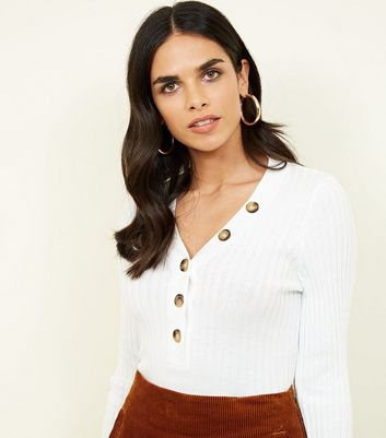 Cream Ribbed Button Front Jumper