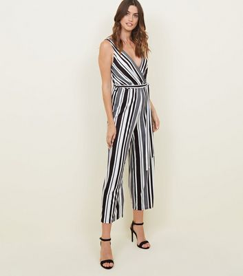 Tall Black Stripe Ribbed Culotte Jumpsuit