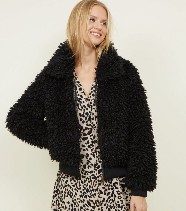 f5b2a392d Black Curly Faux Fur Bomber Jacket Add to Saved Items Remove from Saved  Items