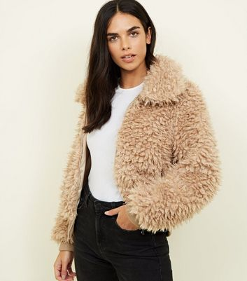 Tan Curly Faux Fur Bomber Jacket
