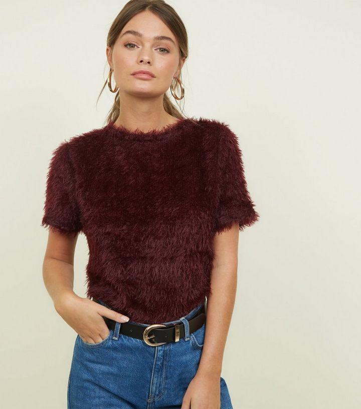 a538560db8ef0c Burgundy Fluffy Knit Short Sleeve Top