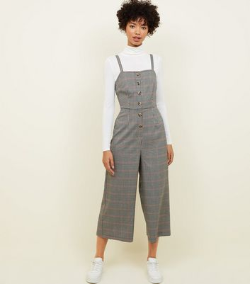 Brown Check Button Front Wide Leg Jumpsuit