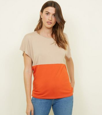 Tall - T-shirt rouge brique color block
